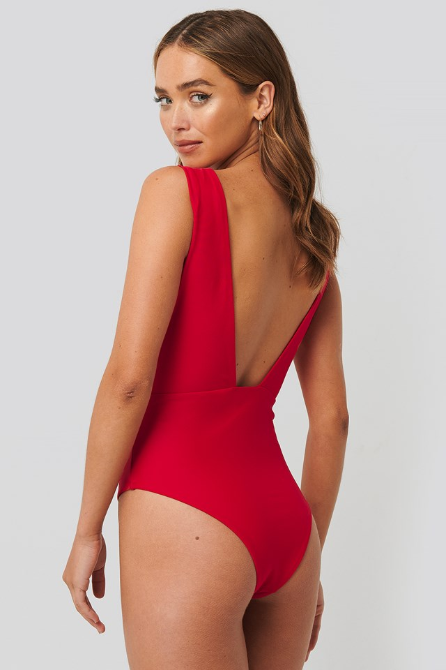Wide Shoulder Strap Swimsuit Red