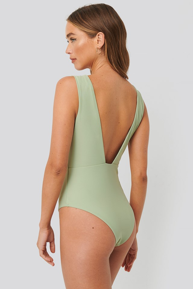 Wide Shoulder Strap Swimsuit Dusty Green
