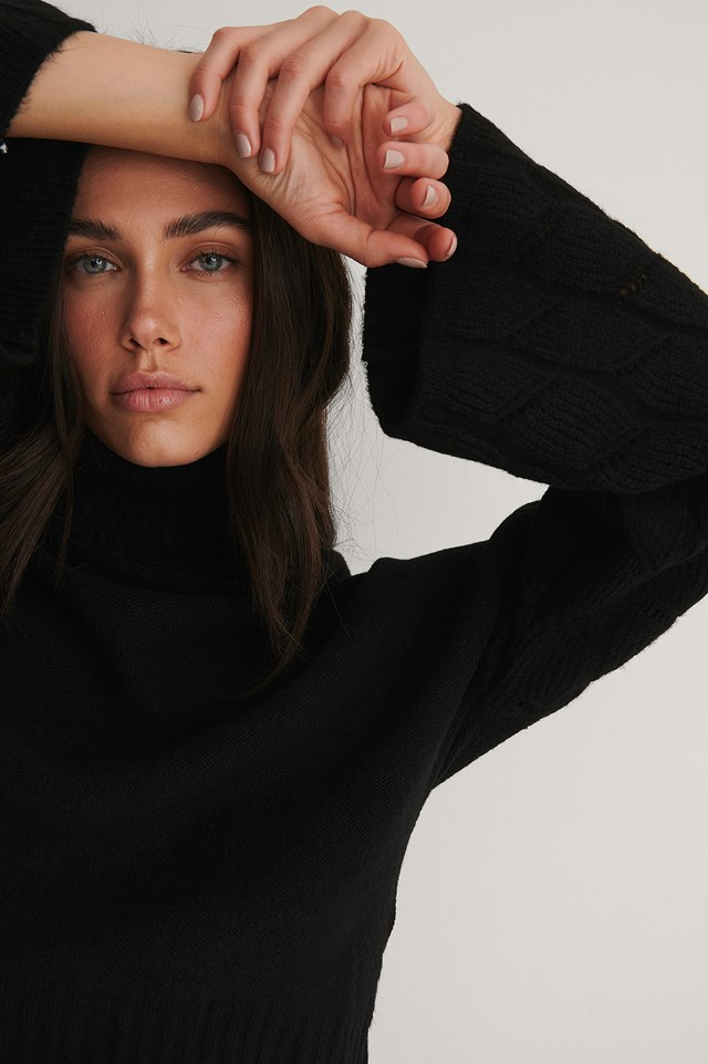 Wide Sleeve High Neck Knitted Sweater Black