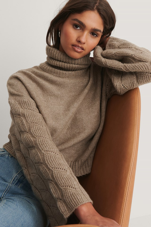 Wide Sleeve High Neck Knitted Sweater Beige