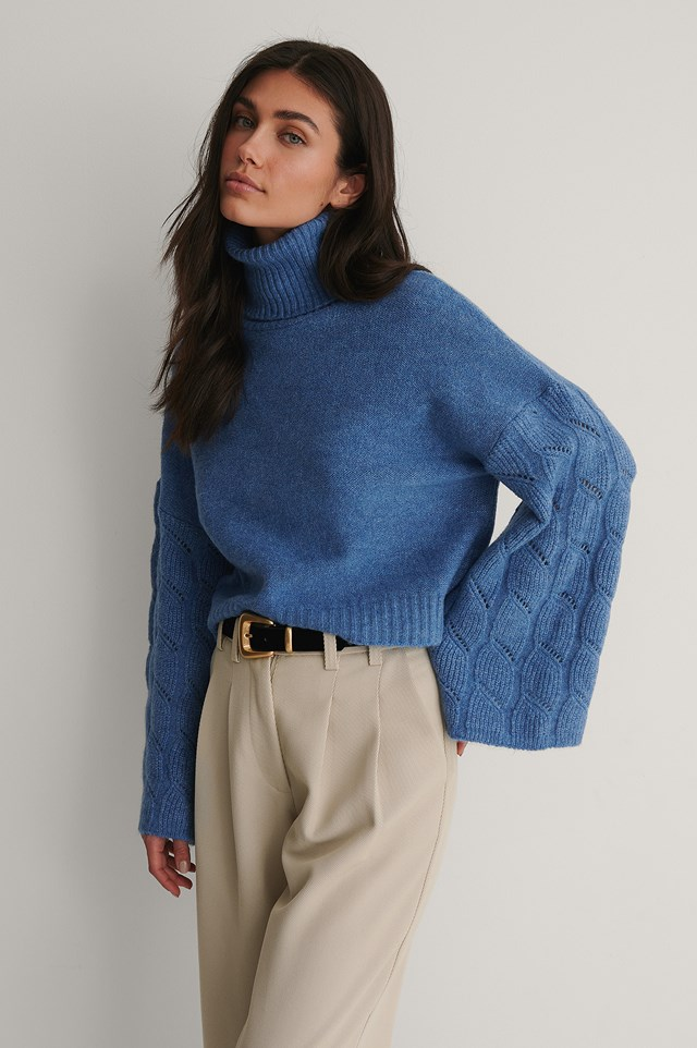 Wide Sleeve High Neck Knitted Sweater Dark Blue