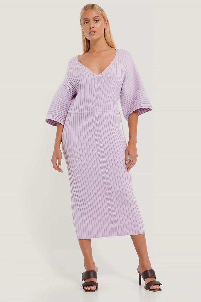 Wide Sleeve Knitted Dress Light Purple