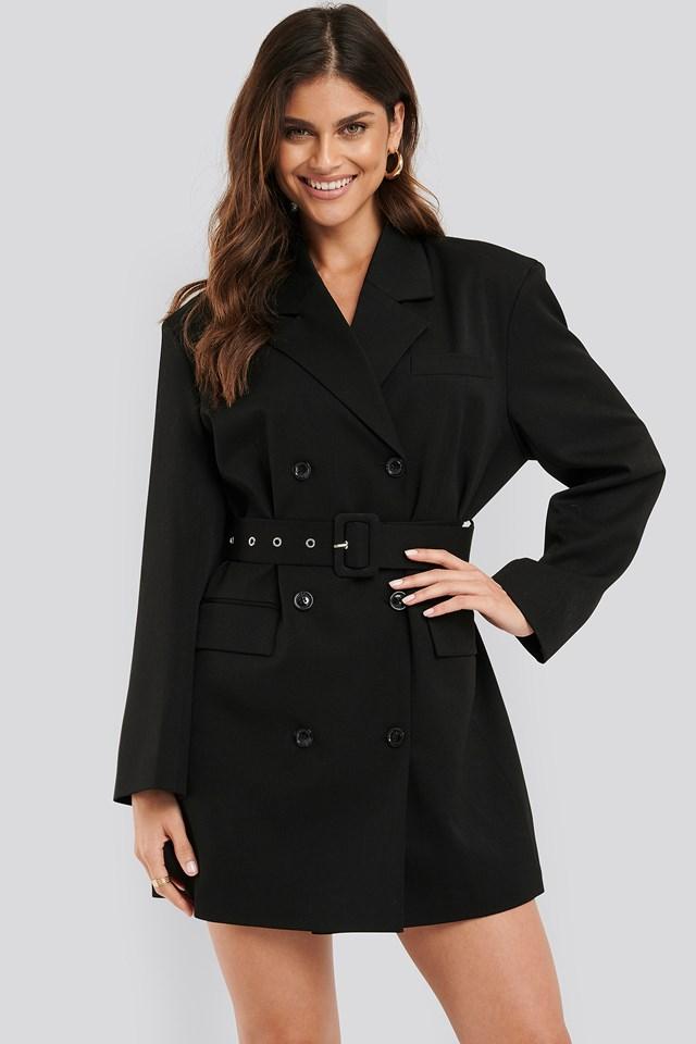 Wide Shoulder Belted Blazer Dress Black