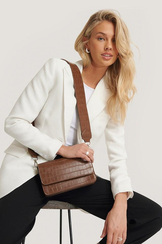 Wide Strap Slim Crossbody Bag Brown