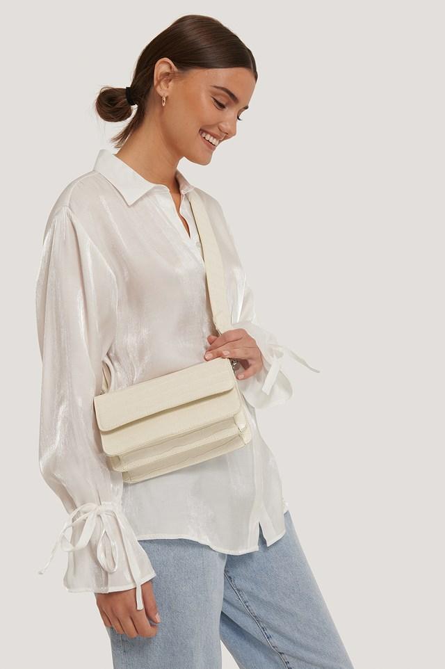 Wide Strap Slim Crossbody Bag Natural