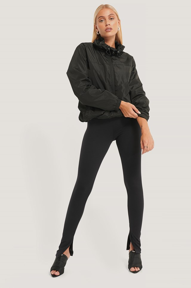 Windbreaker Drawstring Jacket Black