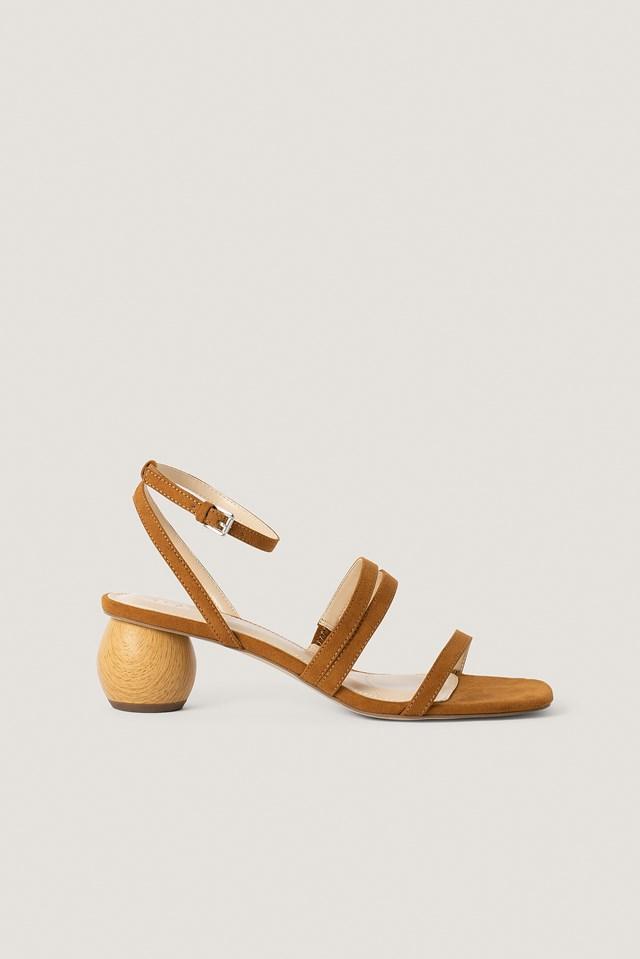 Wooden Heel Sandals Brown