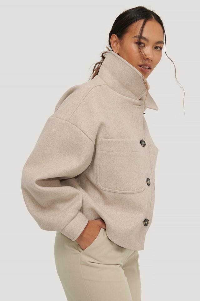 Wool Blend Oversized Short Jacket Beige