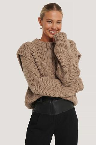 Nougat Wool Blend Shoulder Detail Knitted Sweater