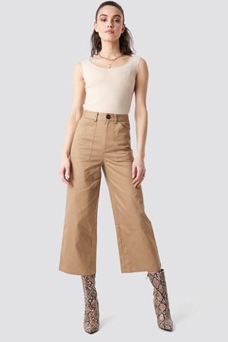 Beige Workwear Wide Pants