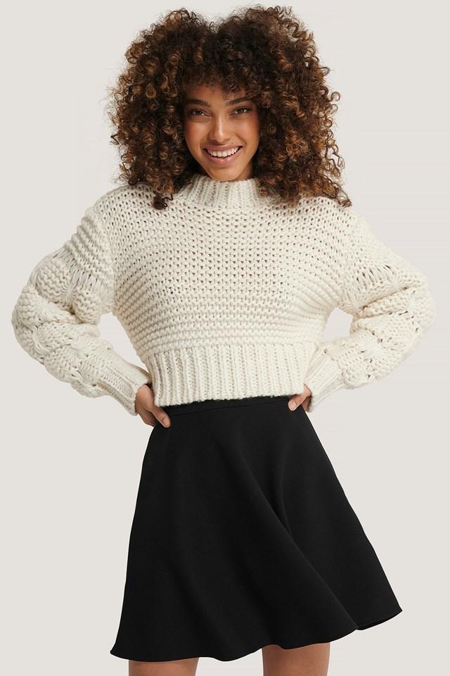 Woven Mini Skirt Black