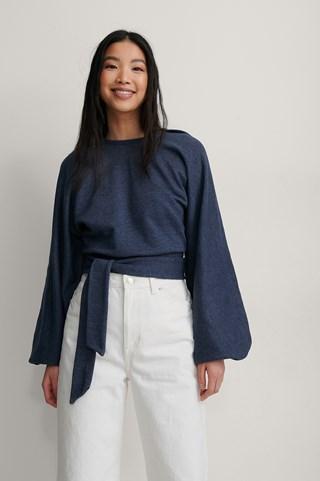 Navy Melange Organic Wrap Detail Sweatshirt