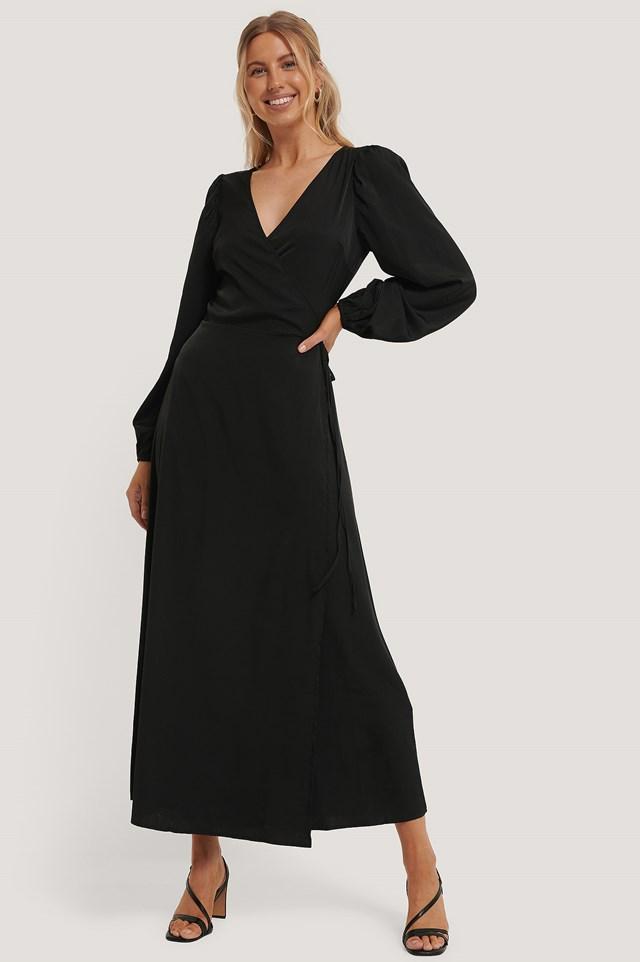 Wrap Around Maxi Dress Black