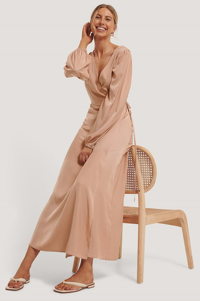 Wrap Around Maxi Dress Peach