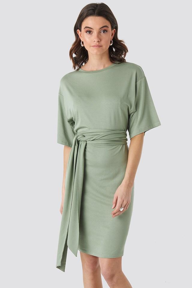 Wrap Detail Jersey Dress Khaki