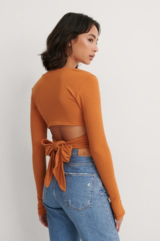 Orange Wrap Detail Rib Top