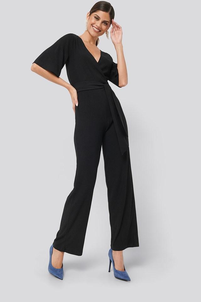 Wrap Front Jersey Jumpsuit Black