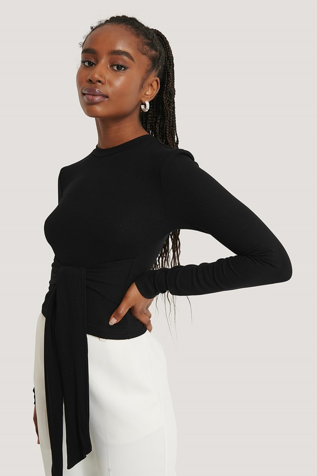 Wrap Long Sleeve Top Black
