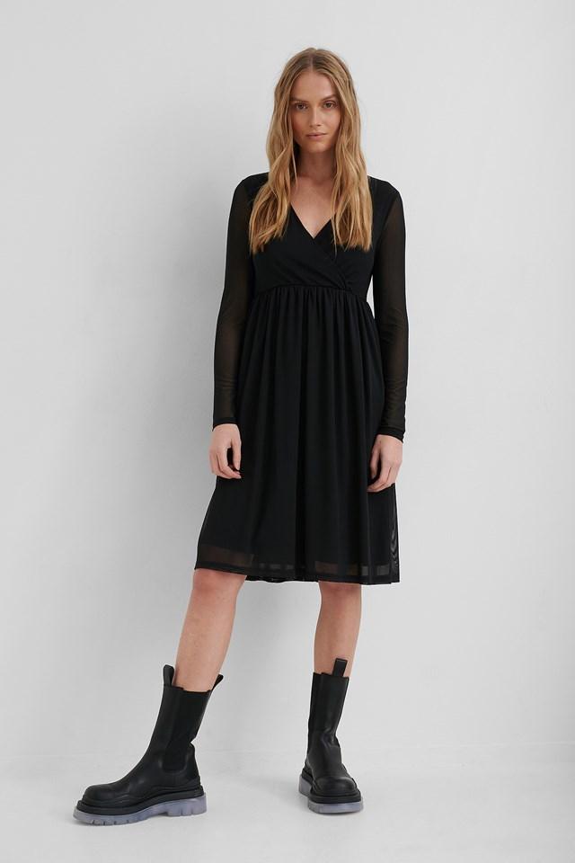 Wrap Mesh Dress Black