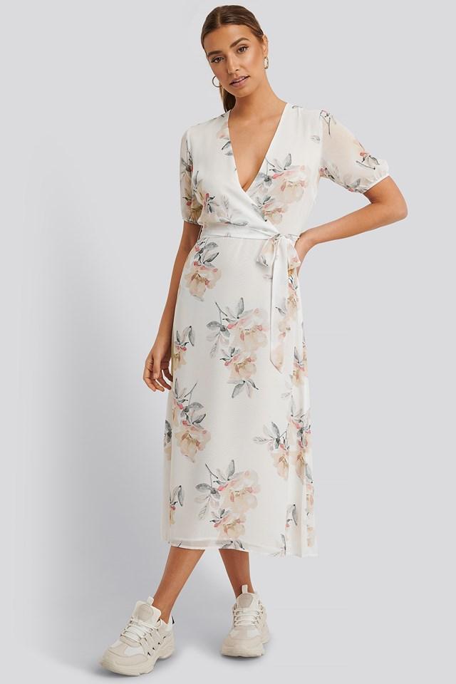 Wrap Midi Short Sleeve Dress Light Flowers White