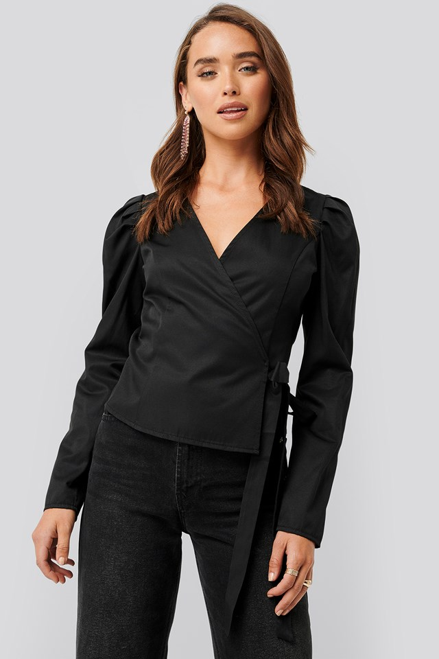 Wrap Over Long Sleeve Blouse Black
