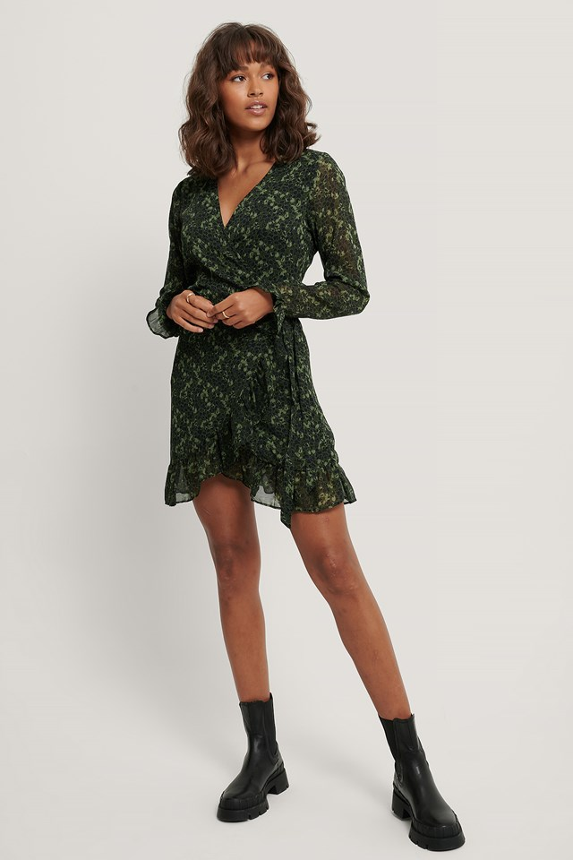 Wrap Over Self-Tie Dress Green Flower