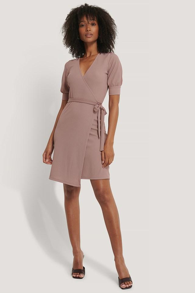 Wrap Puff Sleeve Dress Dusty Light Pink