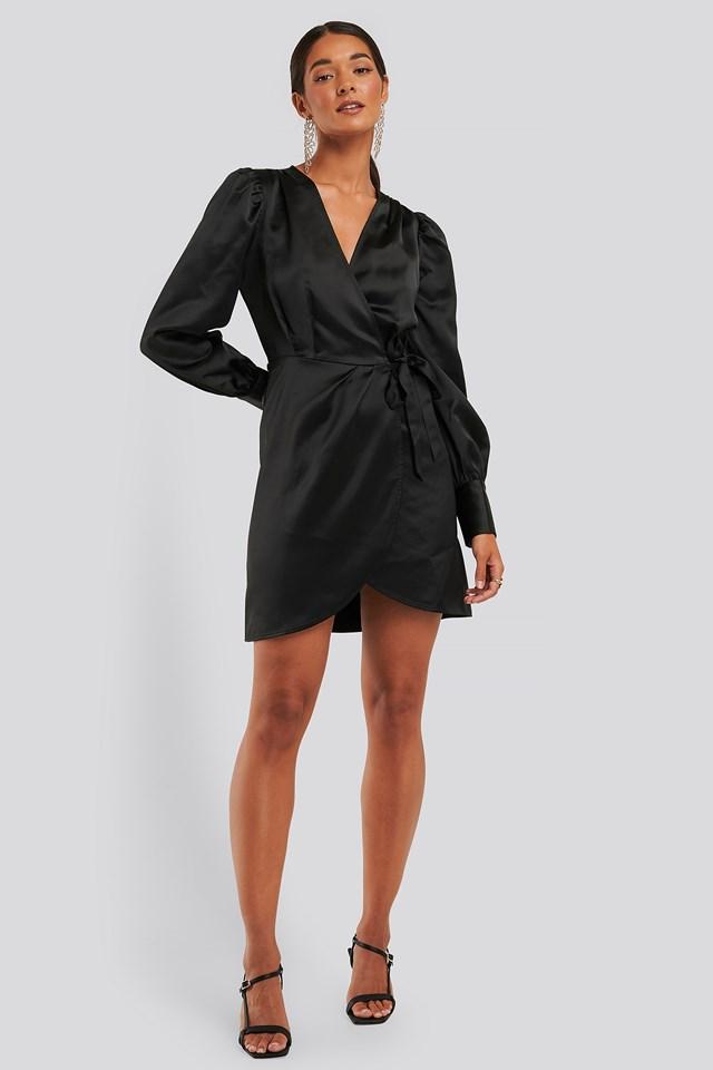 Wrap Satin Dress Black
