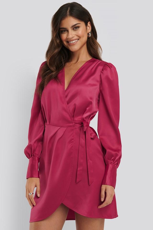 Wrap Satin Dress Fuchsia