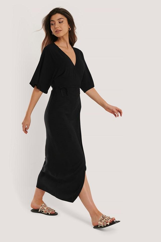 Wrap Tie Dress Black