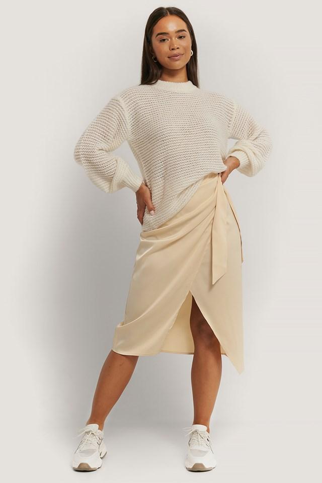 Wrap Tie Skirt Cream
