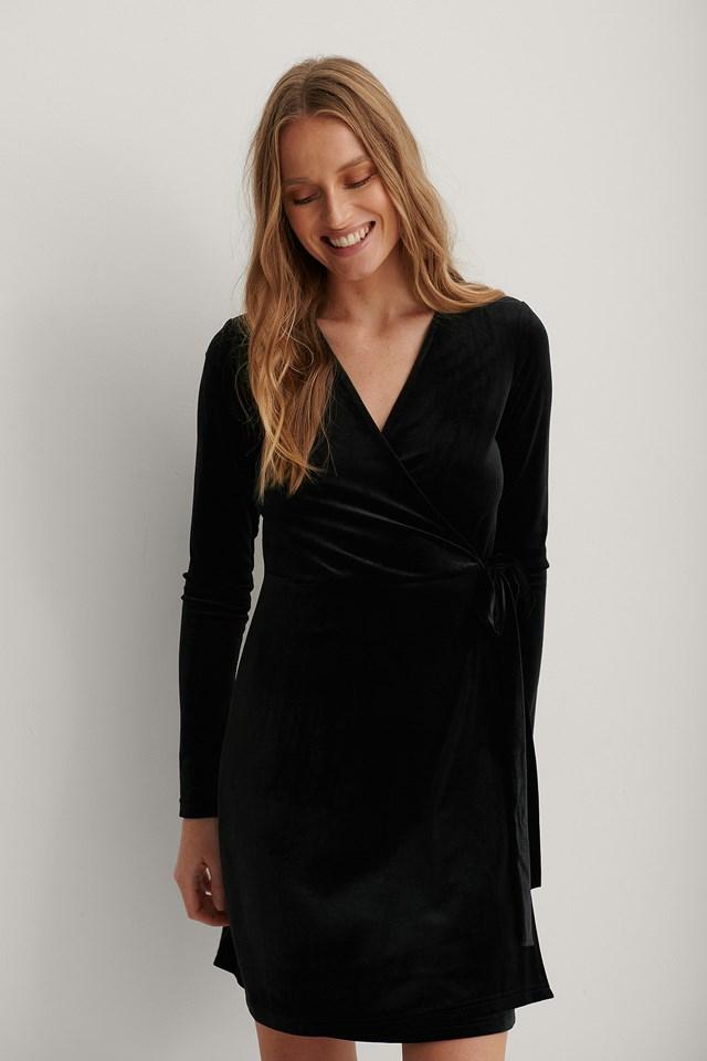 Wrap Velvet Dress Black