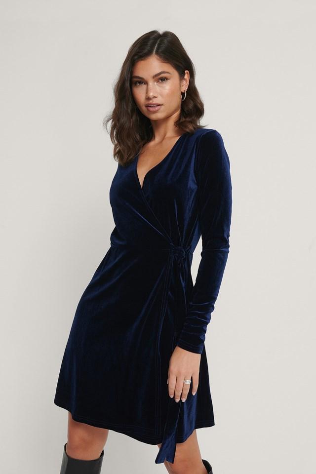 Wrap Velvet Dress Dark Blue