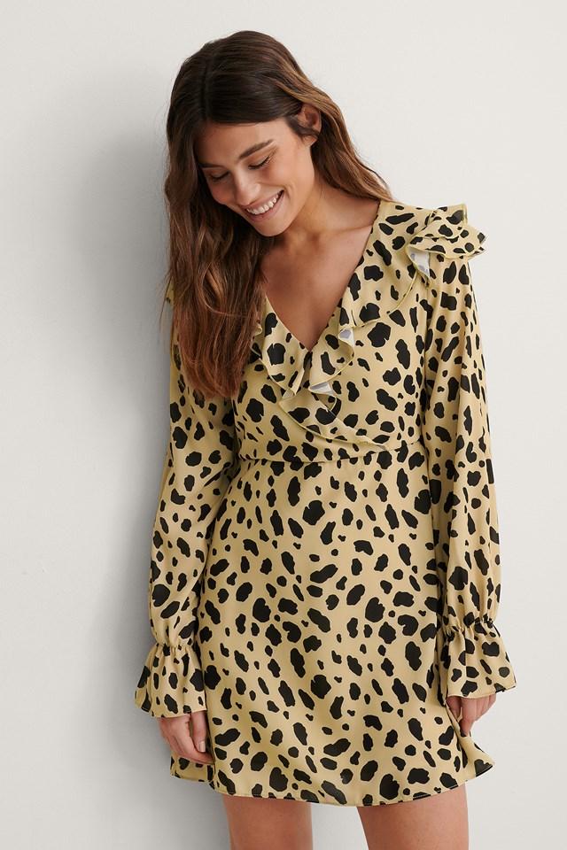 Leopard Print Wrapped Frill Dress