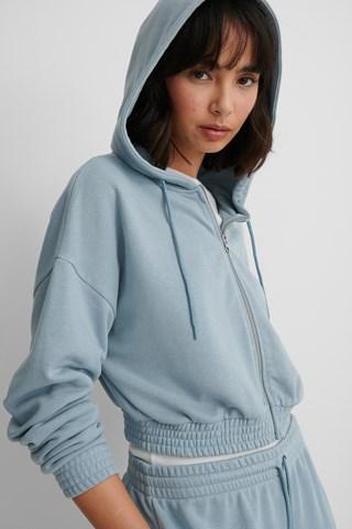Dusty Blue Organic Zip Detail Hoodie