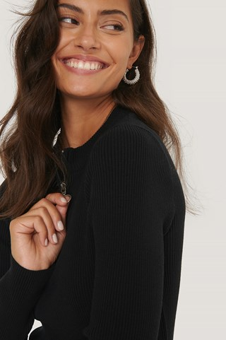 Black Recycled Zip Detail Knitted Sweater