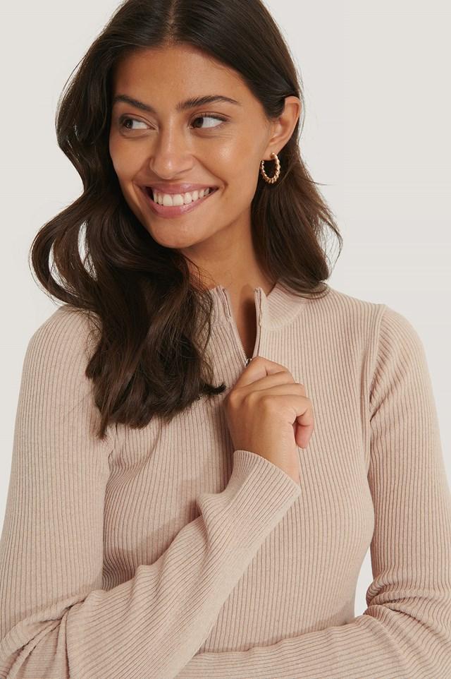 Zip Detail Knitted Sweater Beige