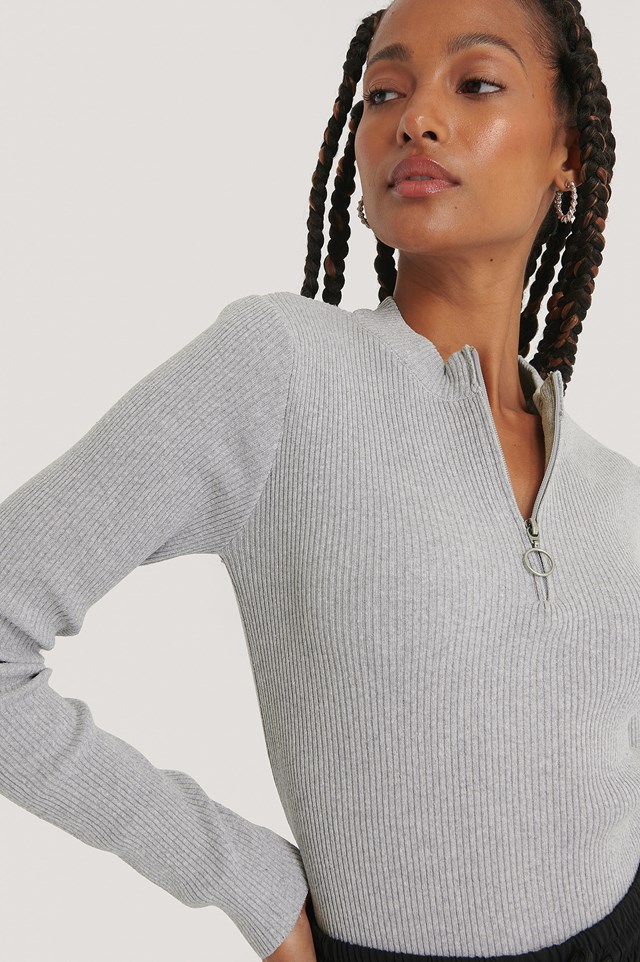 Zip Detail Knitted Sweater Grey
