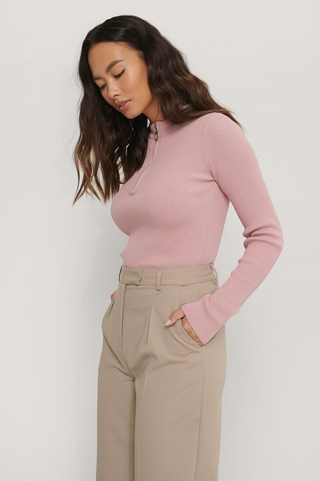 Dusty Dark Pink Recycled Zip Detail Knitted Sweater