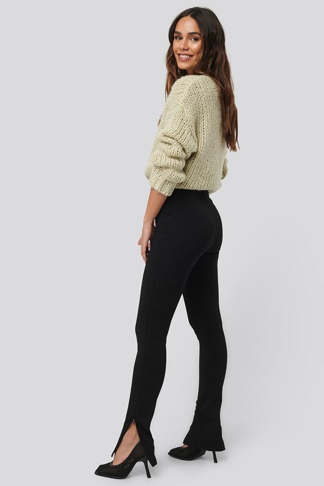 Zip Detail Long Jersey Pants NA-KD
