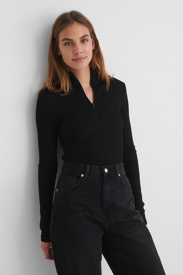 Black Zip Detail Top