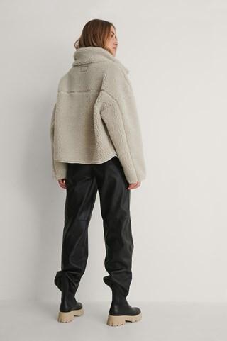 Light Beige Zip Pocket Teddy Jacket
