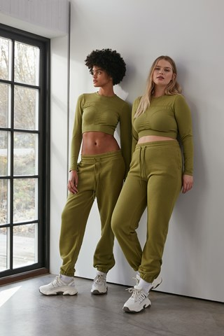 Green Zippered Hem Sweatpants