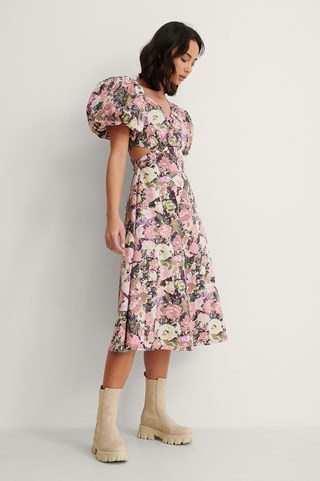Vintage Rose Asymmetric Short Puff Sleeve Midi Dress