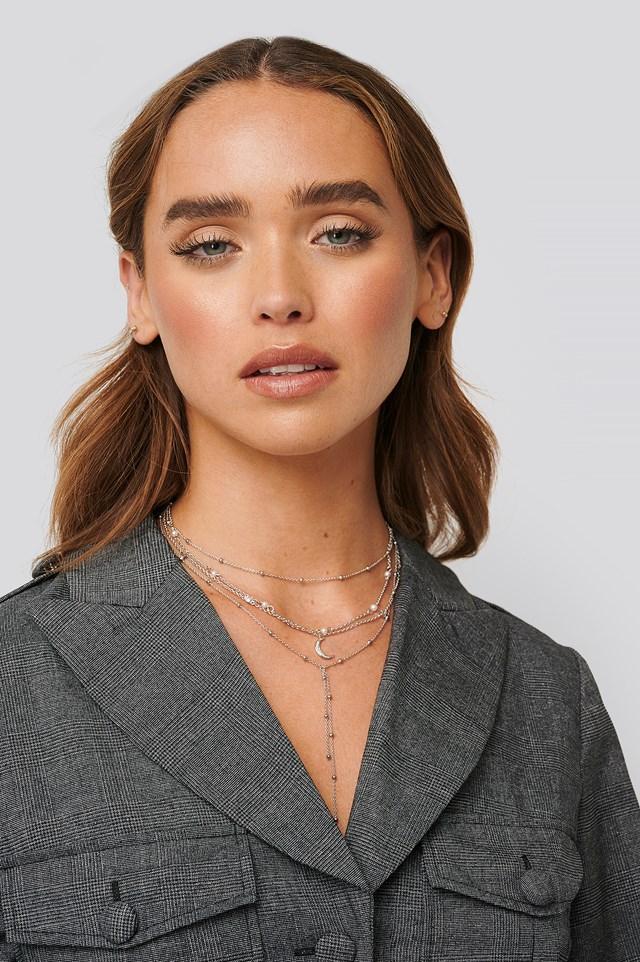Multi Pearl Moon Drop Necklaces Silver