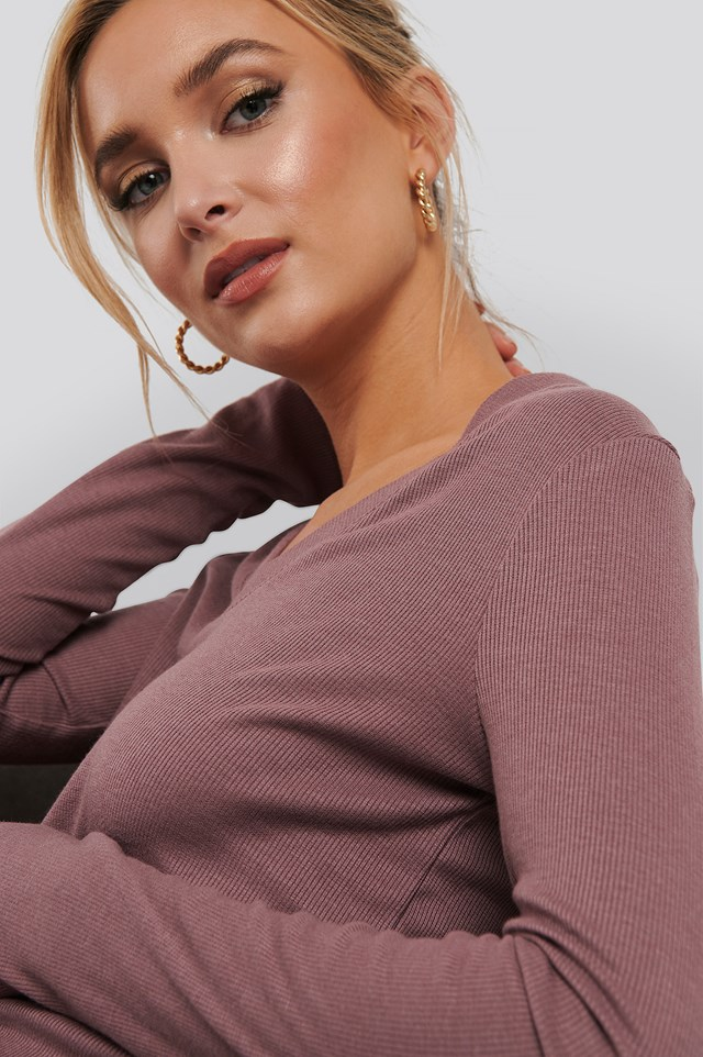 Soft Ribbed V-Neck Longsleeve Rose Taupe