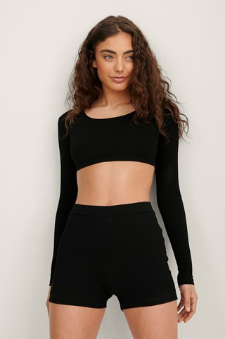 Black Ribbed Mini Shorts