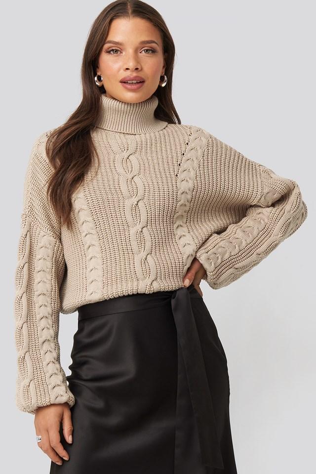 Drop Shoulder Knit Beige