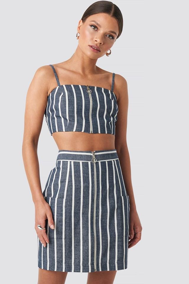 Zipped Skirt Blue/White Stripe