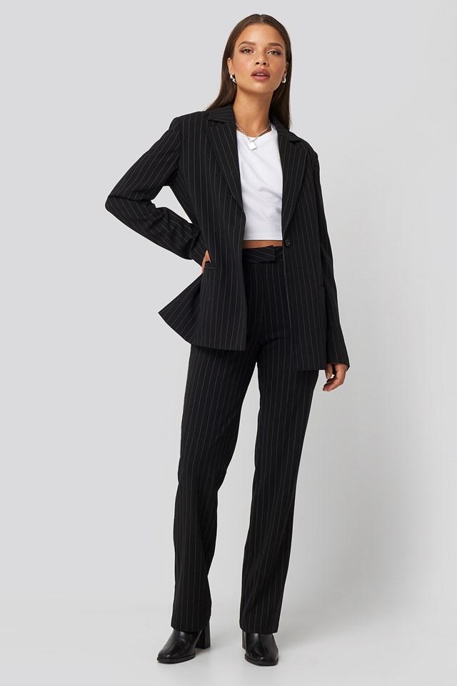 Pinstriped Suit Pants Black/White